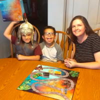 Showing off the board game